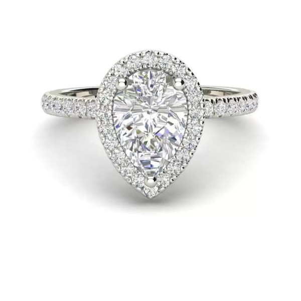 Pave Halo 2.2 Carat SI1 Clarity F Color Pear Cut Diamond Engagement Ring White Gold 3