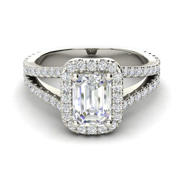 Pave Halo 2.4 Carat VS2 Clarity F Color Emerald Cut Diamond Engagement Ring White Gold 3