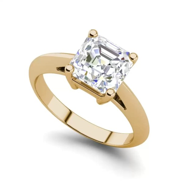 Solitaire 2 Carat VS2 Clarity H Color Cushion Cut Diamond Engagement Ring Yellow Gold