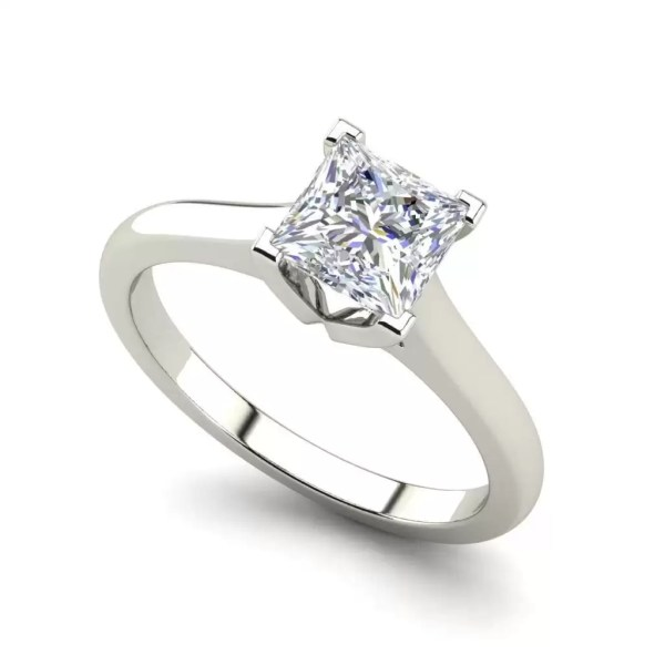 Solitaire 2.25 Carat VS2 Clarity F Color Princess Cut Diamond Engagement Ring White Gold
