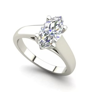 Solitaire 2.5 Carat SI1 Clarity F Color Marquise Cut Diamond Engagement Ring White Gold