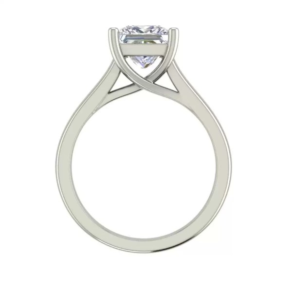 Solitaire 2.75 Carat SI1 Clarity F Color Princess Cut Diamond Engagement Ring White Gold 2