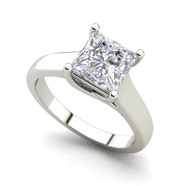Solitaire 2.75 Carat SI1 Clarity F Color Princess Cut Diamond Engagement Ring White Gold