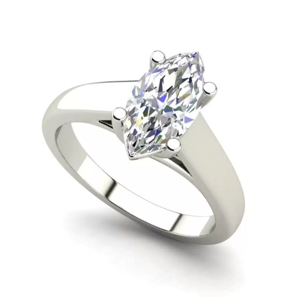 Solitaire 3 Carat VS2 Clarity H Color Marquise Cut Diamond Engagement Ring White Gold