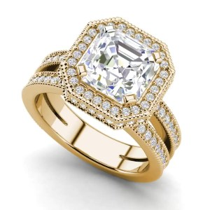 Split Shank 1.75 Carat VS1 Clarity F Color Asscher Cut Diamond Engagement Ring Yellow Gold