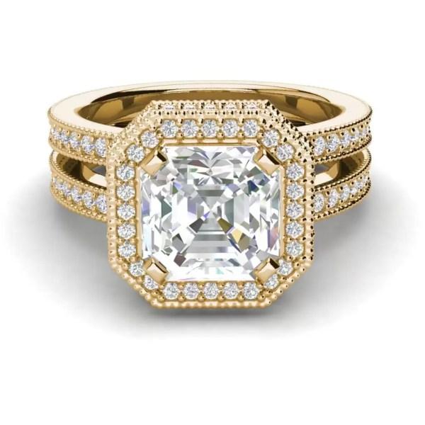 Split Shank 2 Carat VS1 Clarity H Color Asscher Cut Diamond Engagement Ring Yellow Gold 3