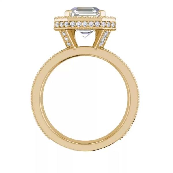 Split Shank 3.25 Carat VS2 Clarity F Color Asscher Cut Diamond Engagement Ring Yellow Gold 2