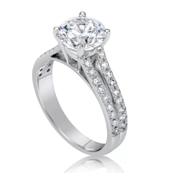 2.2 Carat Round Cut Diamond Engagement Ring 14K White Gold 3