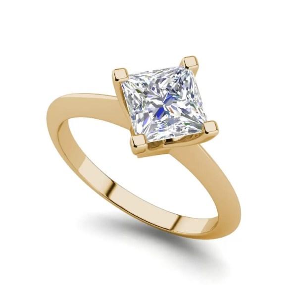 4 Prong 3 Carat SI1 Clarity D Color Princess Cut Diamond Engagement Ring Yellow Gold