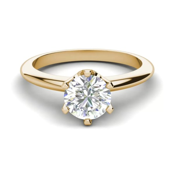6 Prong Solitaire 1.5 Carat VS2 Clarity D Color Round Cut Diamond Engagement Ring Yellow Gold 3