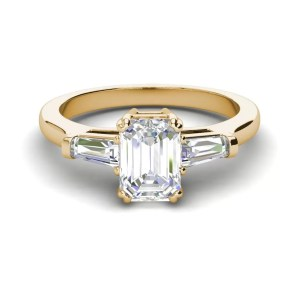 Baguette Accents 1.5 Ct VS2 Clarity F Color Emerald Cut Diamond Engagement Ring Yellow Gold 3