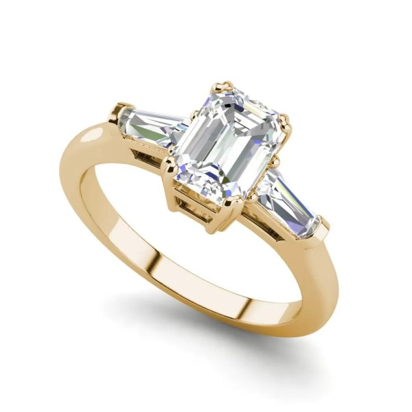 Baguette Accents 1.5 Ct VS2 Clarity F Color Emerald Cut Diamond Engagement Ring Yellow Gold