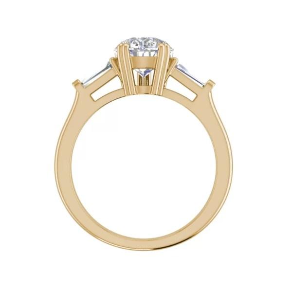 Baguette Accents 1.5 Ct VVS1 Clarity D Color Pear Cut Diamond Engagement Ring Yellow Gold 2