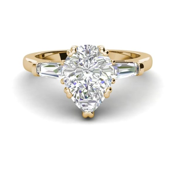 Baguette Accents 1.5 Ct VVS1 Clarity D Color Pear Cut Diamond Engagement Ring Yellow Gold 3