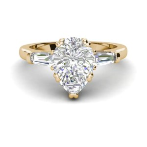 Baguette Accents 1.5 Ct VVS1 Clarity D Color Pear Cut Diamond Engagement Ring Yellow Gold 3