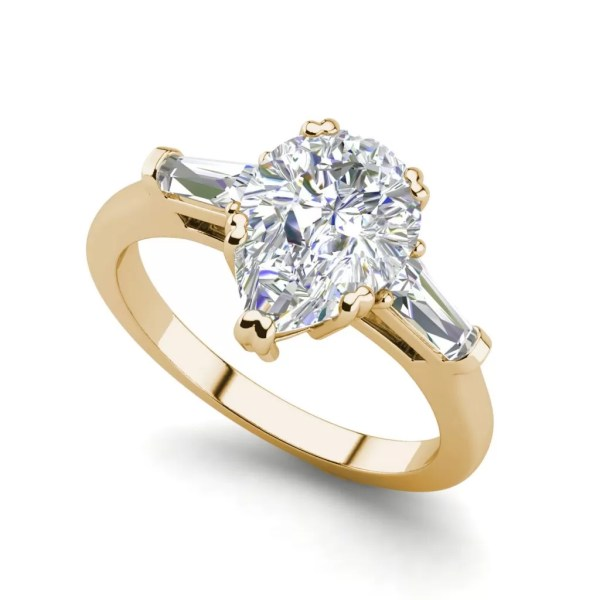 Baguette Accents 1.5 Ct VVS1 Clarity D Color Pear Cut Diamond Engagement Ring Yellow Gold