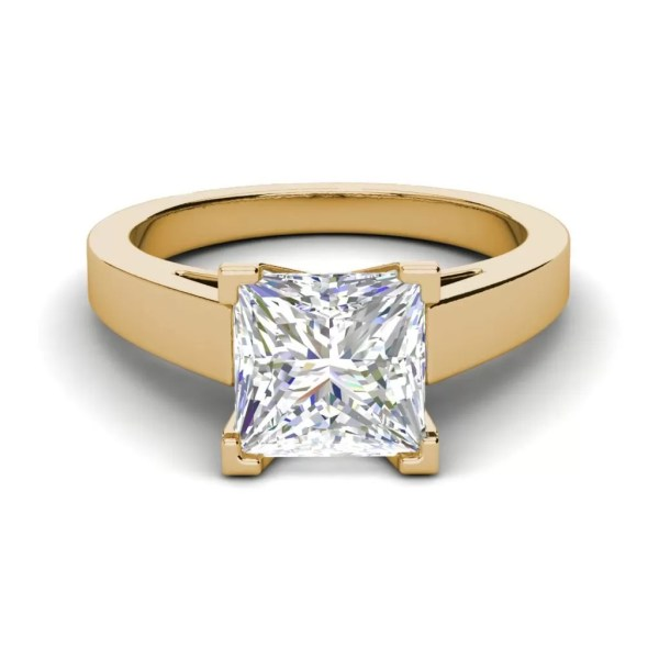Cathedral 1 Carat VS1 Clarity H Color Princess Cut Diamond Engagement Ring Yellow Gold 2