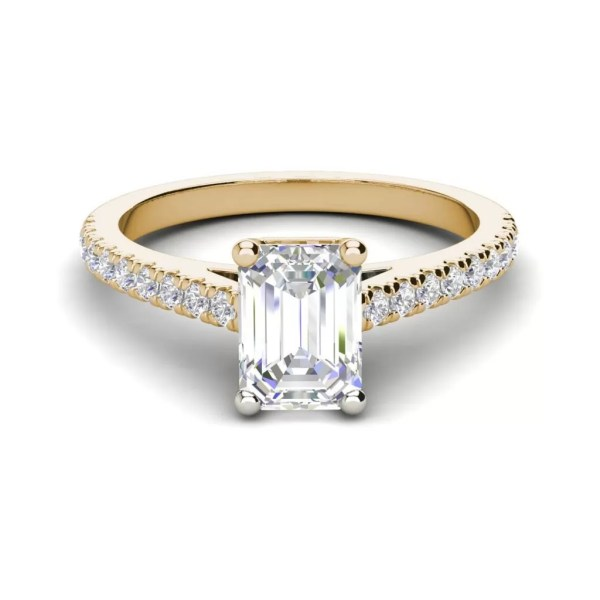 Classic Pave 2.7 Carat VVS1 Clarity D Color Emerald Cut Diamond Engagement Ring Yellow Gold 3