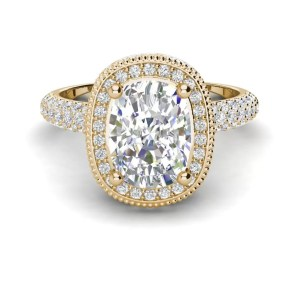 Halo 2.25 Carat VS2 Clarity F Color Cushion Cut Diamond Engagement Ring Yellow Gold 3