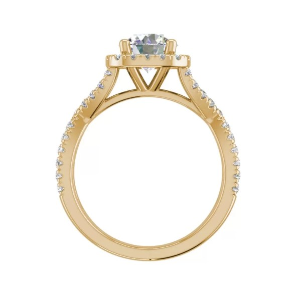 Infinity Halo 2.9 Carat VS1 Clarity H Color Round Cut Diamond Engagement Ring Yellow Gold 2