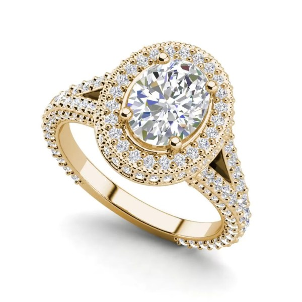 Pave Halo 2.1 Carat VS2 Clarity F Color Oval Cut Diamond Engagement Ring Yellow Gold