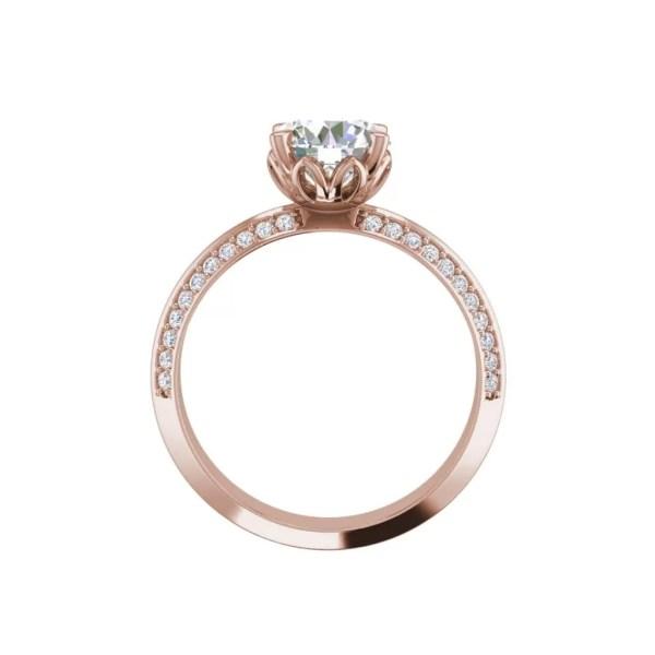 Pave Milgrave 1.35 Carat VS1 Clarity D Color Round Cut Diamond Engagement Ring Rose Gold 2