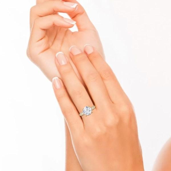 Pave Milgrave 1.35 Carat VS1 Clarity D Color Round Cut Diamond Engagement Ring Yellow Gold 4