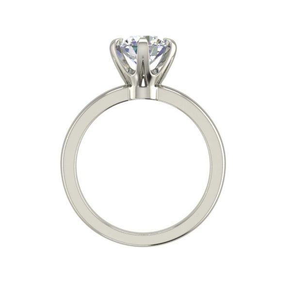 Solitaire 0.9 Carat VS2 Clarity D Color Round Cut Diamond Engagement Ring White Gold 2