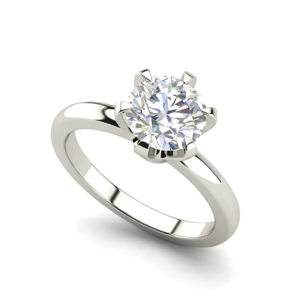 Solitaire 0.9 Carat VS2 Clarity D Color Round Cut Diamond Engagement Ring White Gold