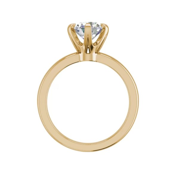 Solitaire 0.9 Carat VS2 Clarity D Color Round Cut Diamond Engagement Ring Yellow Gold 2