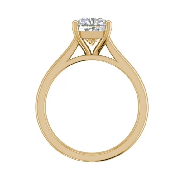 Solitaire 2.25 Carat VS1 Clarity H Color Cushion Cut Diamond Engagement Ring Yellow Gold 2