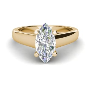 Solitaire 2.5 Carat VS2 Clarity D Color Marquise Cut Diamond Engagement Ring Yellow Gold 3