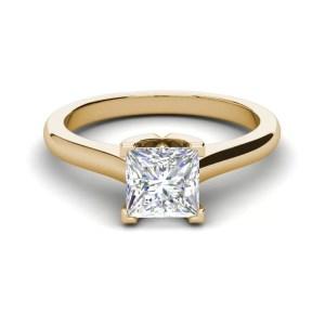 Solitaire 2.5 Carat VVS1 Clarity D Color Princess Cut Diamond Engagement Ring Yellow Gold 3