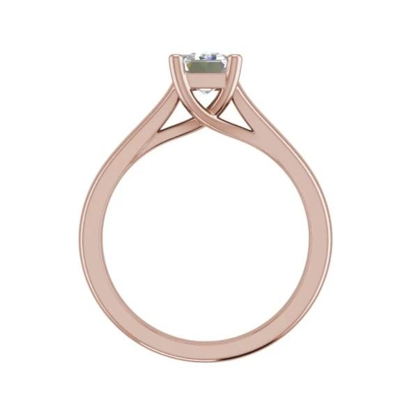 Trellis Solitaire 0.9 Ct VS2 Clarity D Color Emerald Cut Diamond Engagement Ring Rose Gold 2