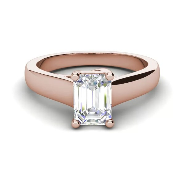 Trellis Solitaire 0.9 Ct VS2 Clarity D Color Emerald Cut Diamond Engagement Ring Rose Gold 3