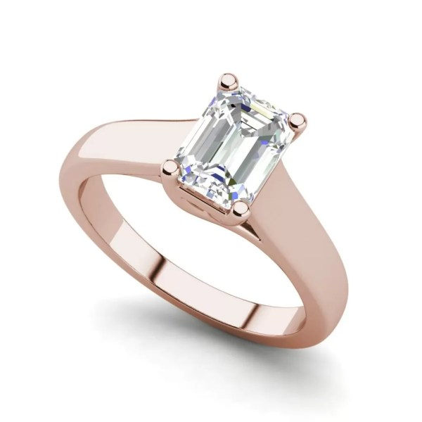 Trellis Solitaire 0.9 Ct VS2 Clarity D Color Emerald Cut Diamond Engagement Ring Rose Gold
