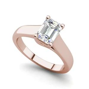 Trellis Solitaire 0.9 Ct VS2 Clarity D Color Emerald Cut Diamond Engagement Ring Rose Gold