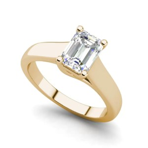 Trellis Solitaire 0.9 Ct VS2 Clarity D Color Emerald Cut Diamond Engagement Ring Yellow Gold