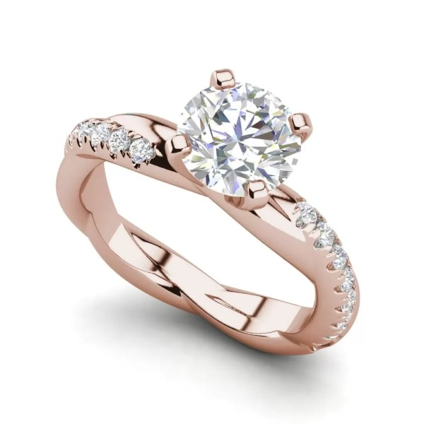 Twist Rope Style 1.75 Carat VS2 Clarity F Color Round Cut Diamond Engagement Ring Rose Gold
