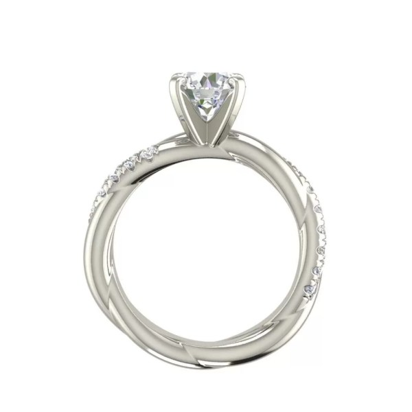 Twist Rope Style 1.75 Carat VS2 Clarity F Color Round Cut Diamond Engagement Ring White Gold 2