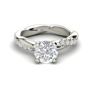 Twist Rope Style 1.75 Carat VS2 Clarity F Color Round Cut Diamond Engagement Ring White Gold 3