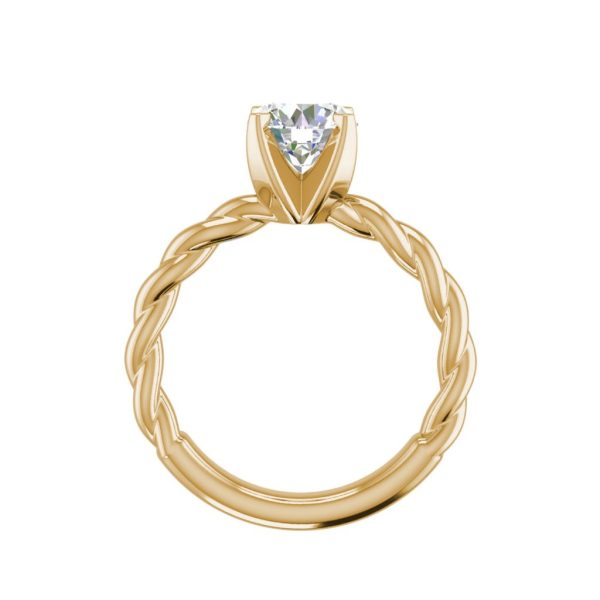Twist Solitaire 0.9 Carat SI1 Clarity D Color Round Cut Diamond Engagement Ring Yellow Gold 2