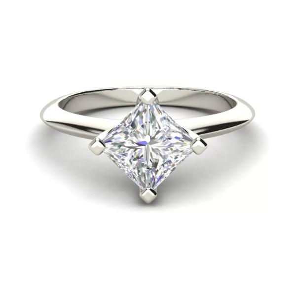 4 Prong 0.75 Carat Princess Cut Diamond Engagement Ring White Gold
