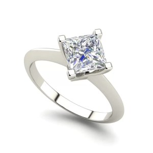 4 Prong 0.75 Carat Princess Cut Diamond Ring White Gold