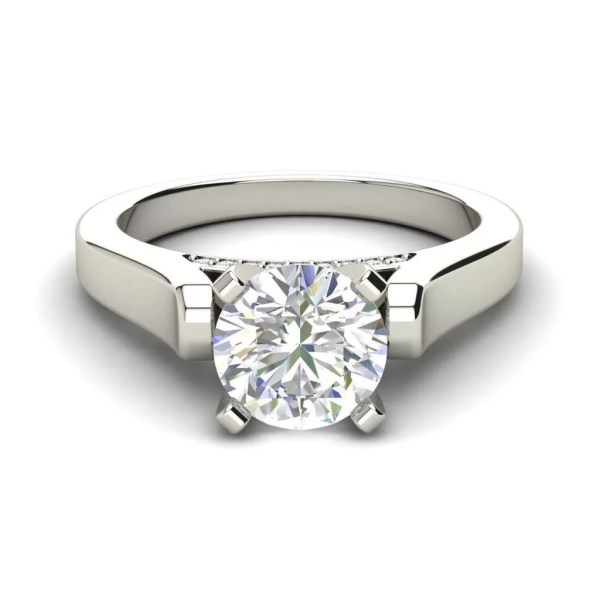 Cathedral Solitaire 0.6 Ct Round Cut Diamond Engagement Ring