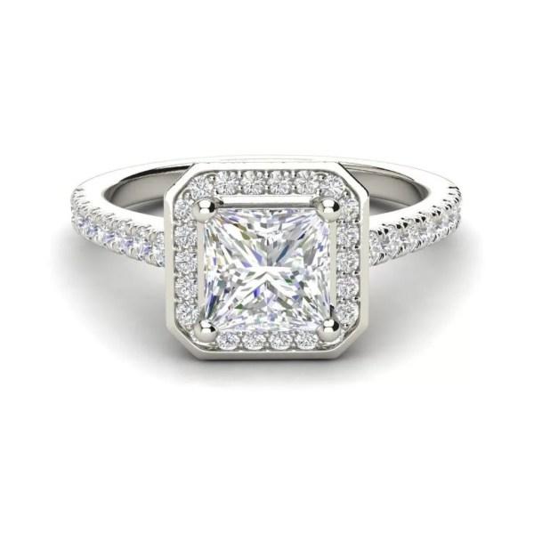 Halo Pave 0.95 Carat Princess Cut Diamond Engagement Ring White Gold