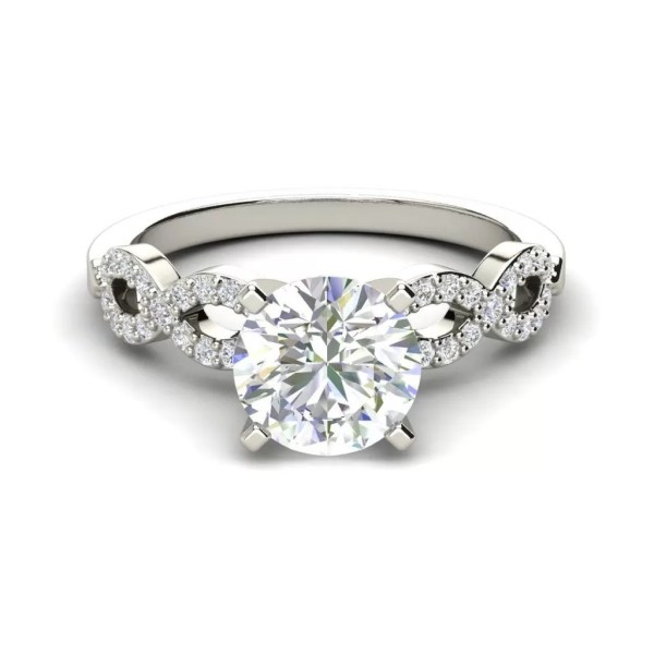 Infinity Pave 0.85 Carat Round Cut Diamond Engagement Ring