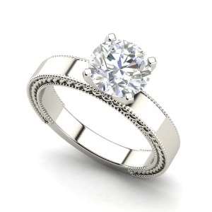 Milgrain 0.5 Carat Round Cut Diamond Engagement Ring