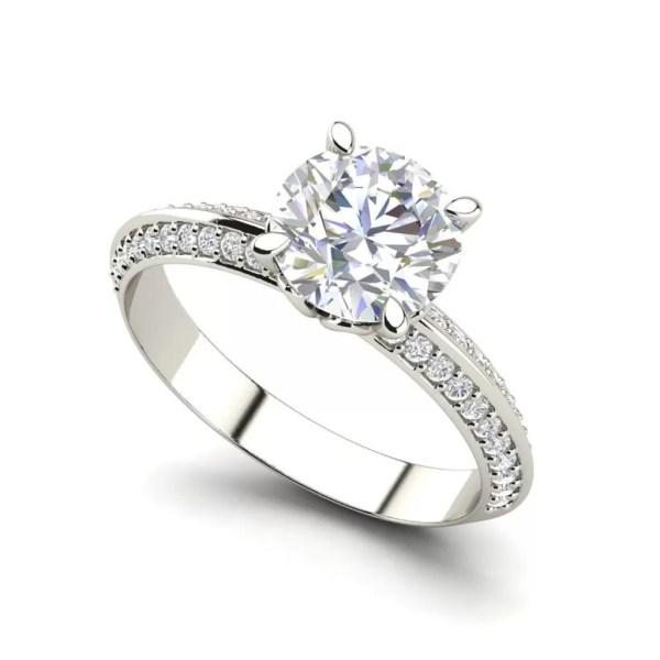 Pave Milgrave 0.85 Carat Round Cut Diamond Engagement Ring