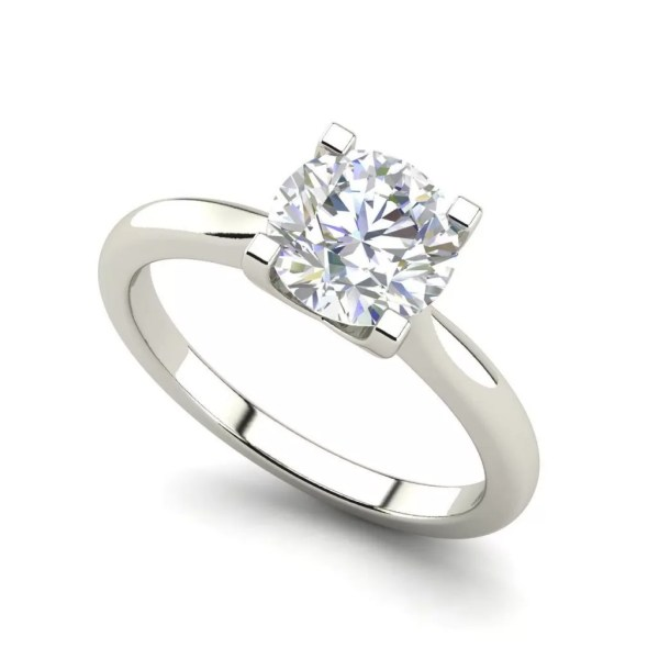 Round Cut 0.5 Carat 4 Claw Solitaire Diamond Ring
